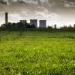 Stock Photo: Green field dark power