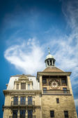 Geneva clock tower and bank — Stock Photo