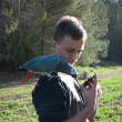 Постер, плакат: Teenage boy with a gray parrot Jaco