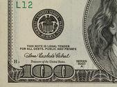 Close up one hundred dollar bill — Stock Photo