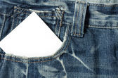 Blank note in a jeans pocket — Stock Photo