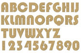 High quality scan of letterpress uppercase alphabets - A to Z. Nice Cork board  style. — Stock Photo