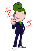 Vector character of businessman  Thumbs Up and dollar sign — Wektor stockowy