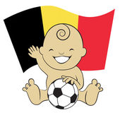 Baby Soccer Boy with B elgiumFlag — Stock Vector
