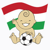 Baby Soccer Boy with Hungary Flag Background — Stock Vector