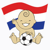 Baby Soccer Boy with Netherlands Flag Background — Stock Vector