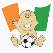 Baby Soccer Boy with Cote D'Ivoire Flag Background — Stock Vector