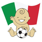 Baby Soccer Boy with Italy Flag Background — Stock Vector
