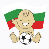 Baby Soccer Boy with Bulgaria Flag Background — Stock Vector