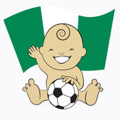 Baby Soccer Boy with Nigeria Flag Background — Stock Vector