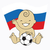 Baby Soccer Boy with Russia Flag Background :cartoon illustration — Stock Vector