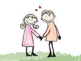 Happy lover dating doodle cartoon illustration  — Stockvektor
