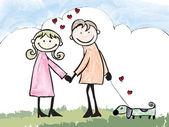 Happy lover couple dating cartoon illustration  — Stock Vector