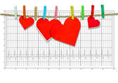 Group of Cute big red heart hanging on the clothesline. on  electrocardiogram — Stock Photo