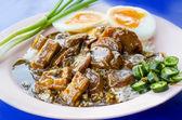 """Khao Moo Daeng""  BBQ Pork over rice . famous Thai Food — Stock Photo"