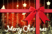 Christmas background with Red Bow — Stock Photo
