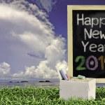 ukelele con cielo azul y el texto de la pizarra 2015 sobre la hierba — Foto de Stock   #49753863