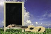 Ukulele with blue sky and Blank Blackboard on green grass — Stock Photo