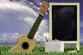 Ukulele with blue sky and Blank Blackboard on green grass — Photo