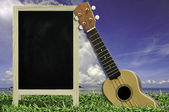 Ukulele with blue sky and Blank Blackboard on green grass — ストック写真