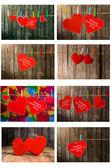 Коллекция симпатичные красные сердца, висели на веревках. на фоне старого дерева. — Стоковое фото