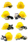 Collection of Helmet, gloves, ear defenders and goggles on white — Stock Photo