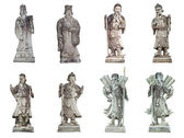 Collection of ancient chinese stone doll isolated on White — Stock Photo