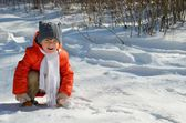 Little girl walks in the woods winter — Stock Photo