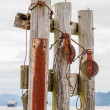 Marine rigging adorns abandoned piers at waterfront — Stock Photo