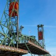 Steel lift bridge in up position — Stock Photo
