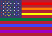 LGBT & American flag colors intertwined for conceptual usage — Stock Photo