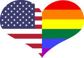 Conceptual American & Gay flag and color heart shapes — Stock Photo