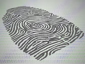 Conceptual finger print stamped atop computer code — Stock Photo