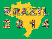 Brazil map with qualified nations for 2014 tournament. — Stock Photo