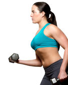 Female exercies with free weights — Stock Photo