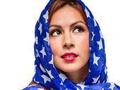 Patriotic American Female — Stock Photo