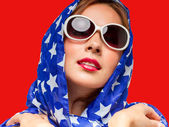 Female in American Colors — Stock Photo