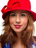Female Wearing Hat and Scarf — Stock Photo
