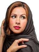 Hispanic Female Wearing Black Scarf — Stockfoto