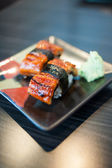Close up of Unagi Sushi Set Japan eel — Stock Photo