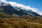 Beautiful view and glacier in Mount Cook National Park, South Island, New Zealand — Stock Photo
