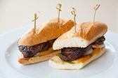 Beef steak sandwich on white plate — Stock Photo