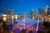 Cityscape of Singapore night in twilight time Marina Bay view from Esplanade — Stock Photo