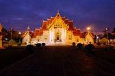 Marble Temple Wat Benchamabophit Dusitvanaram in twilight time, major tourist attraction, Bangkok, Thailand — Stock Photo