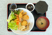 Set of japanese food with prawn tempura, tonkatsu, karake and miso soup — Stock Photo