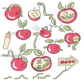 Worms and apples — Stock Vector