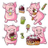 Cartoon pigs — Stock Vector