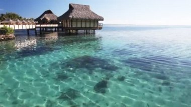 Amazing tropical resort with huts over blue water — Stock Video #13774234