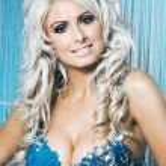 Sexy woman in blue bikini covered by diamonds — Stock Photo #45350531