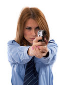 Lady cop posing with gun on white background — Stock Photo